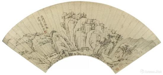 (清)弘仁 山水图 扇面 纸本墨笔