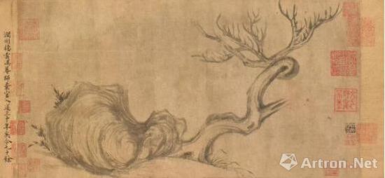 《枯木怪石图》 画作局部