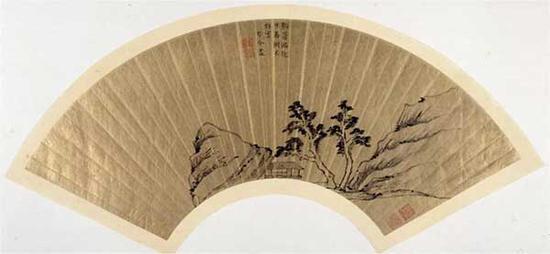 图2 黄媛介 山水图 扇面 金笺墨笔 纵16.2厘米 横50.5厘米 故宫博物院