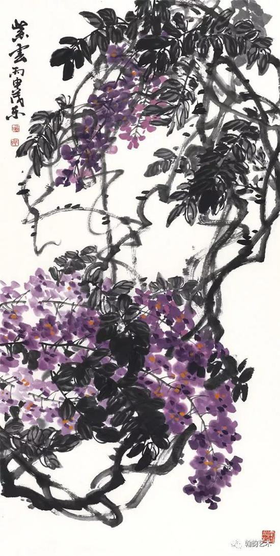 紫云 纸本 136x68cm