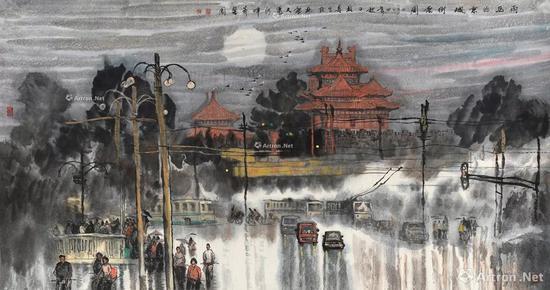 12 祝林恩 2004年作 雨后的京城街景图 镜心 RMB 1,600,000-2,000,000