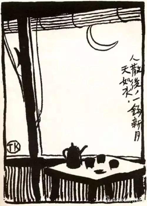 丰子恺第一幅公开发表的漫画作品 《人散后,一钩新月天如水》