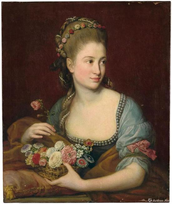 庞培奥·巴托尼(1708-1787) 《化身花神的女子半身像,手持装满花朵的柳条篮》