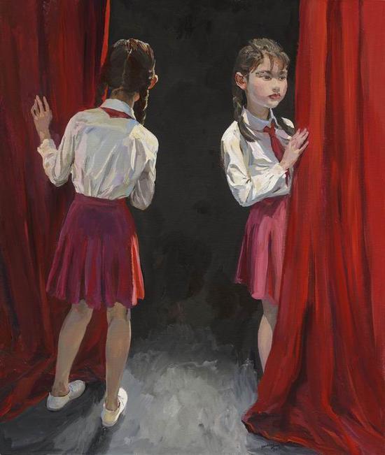 喻红,《半百 No.9》,2018,120x100cm,布面丙烯