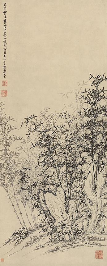 钱载《秀石丛竹图》轴,纸本水墨,87厘米×35厘米,1789年