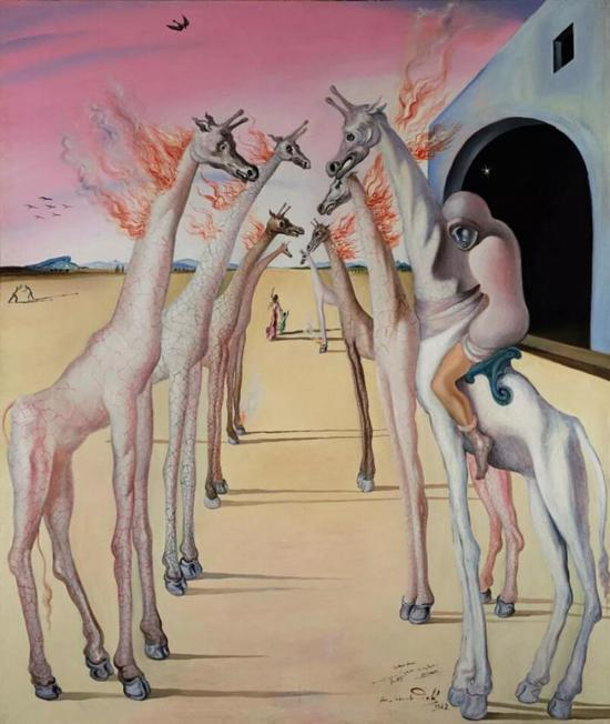 萨尔瓦多·达利(Salvador Dalí)《火焰,呼唤》款识:画家签名、纪年并题致 pour Monsieur et Madame Audrey Leray W.Berdeauaffectueusement Gala Salvador Dalí 1942(中下);签名、纪年并书题目 S。 Dalí 1942(背面)   油彩画布   146 x 124 公分