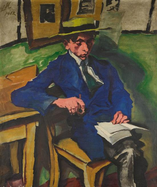 路德维希·迈德纳,《戴草帽的年轻男子》(背面)