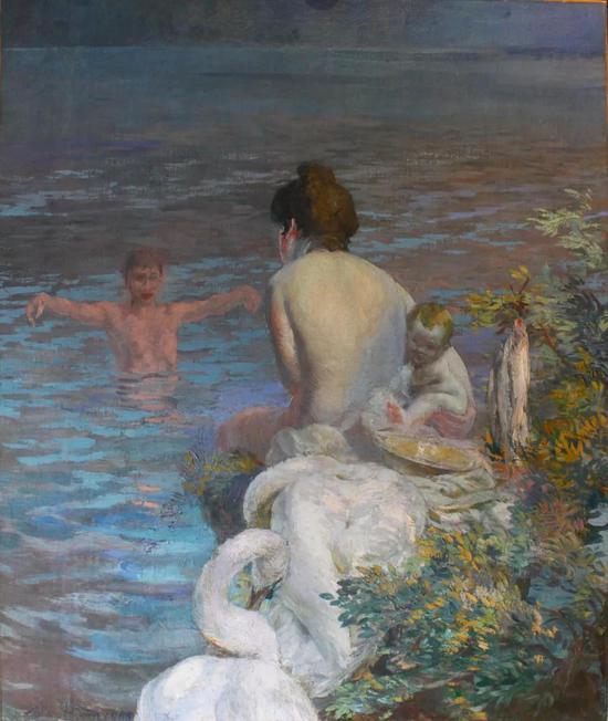 保罗。阿尔伯特。贝纳尔 湖民 布面油彩 155x130cm 1905年
