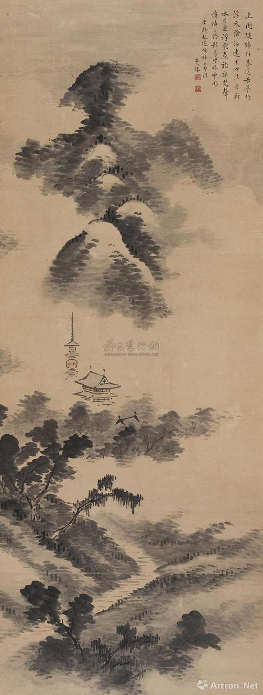 苏曼殊《秋山萧寺图》123×47cm 类似马远构图