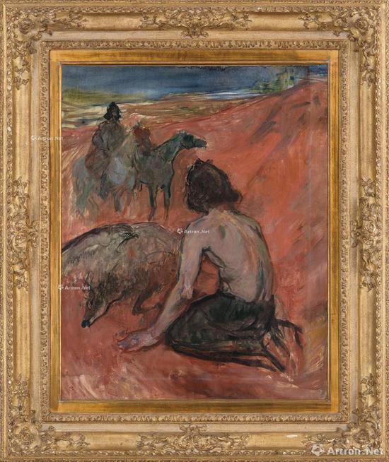 亨利·德·图卢兹·罗特列克 鹰匠 镜框 油彩 画布