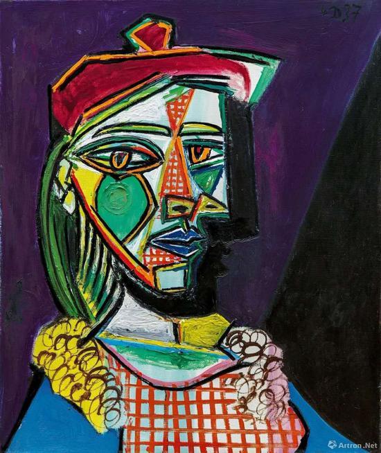 毕加索《戴贝雷帽·穿格子裙的女子(玛利·德蕾莎·沃特)》55x46cm 1937年作