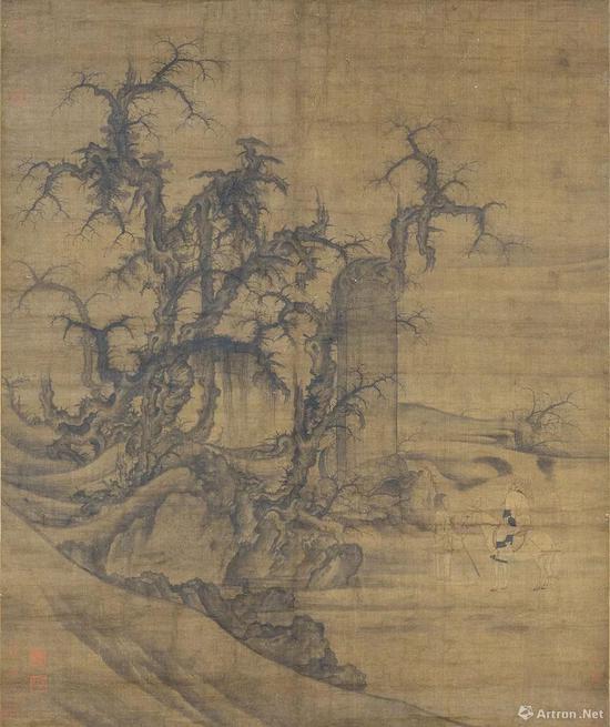 (传)宋李成·王晓,《读碑窠石图》轴,日本大阪市立美术馆藏