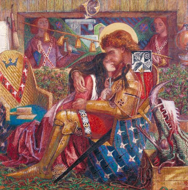 但丁·罗塞蒂《圣乔治和萨布拉公主的婚礼》(The Wedding of St George and Princess Sabra,1857),现藏于英国伦敦泰特美术馆