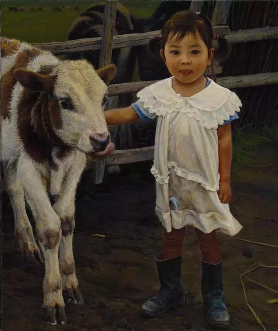 童年的玩伴 布面油画 45.5X38cm 2009年