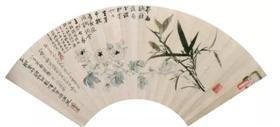 图1 张大千、张丽诚《竹菊图》扇面,成都博物馆藏