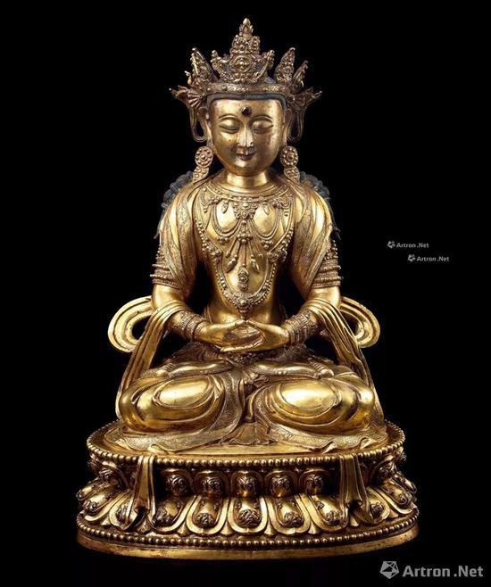 NO.12 15世纪 汉藏宫廷 铜鎏金嵌宝无量寿佛