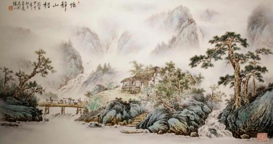 """李亮 """"山水""""瓷板42cm×79cm"""
