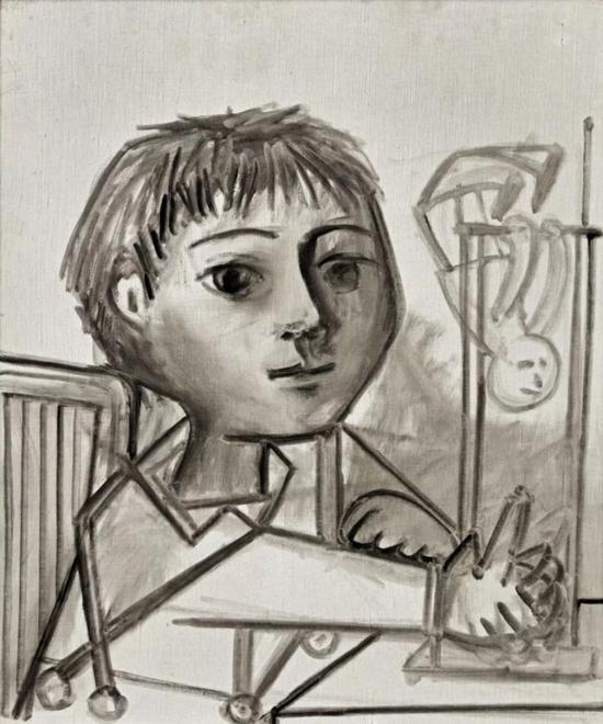巴布罗·毕加索《玩耍的儿童,克劳德》1952年作    款识:纪年15.4.52。(背面)   油彩画布    65x 54 公分