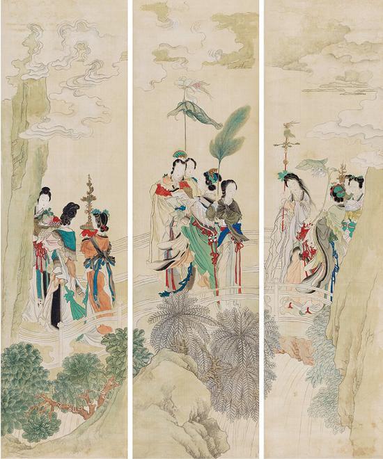 (清)任熊 瑶池祝寿图(三条屏)