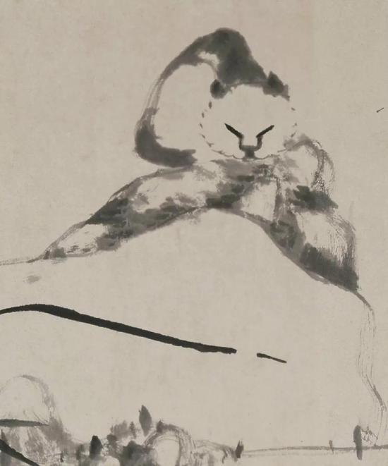《猫石花卉图》局部