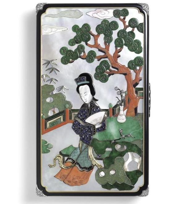 粉彩人物仕女图盘,清康熙,故宫博物院藏;化妆盒,1928年,卡地亚典藏。