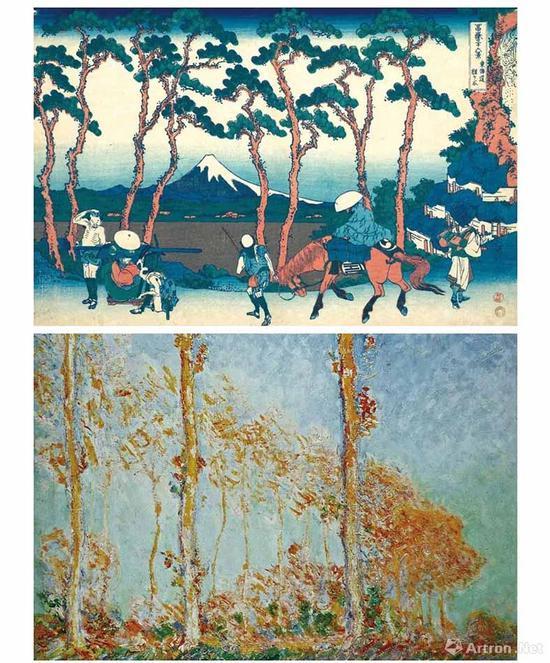 上图:葛饰北斋,《富岳三十六景-東海道程ヶ谷》