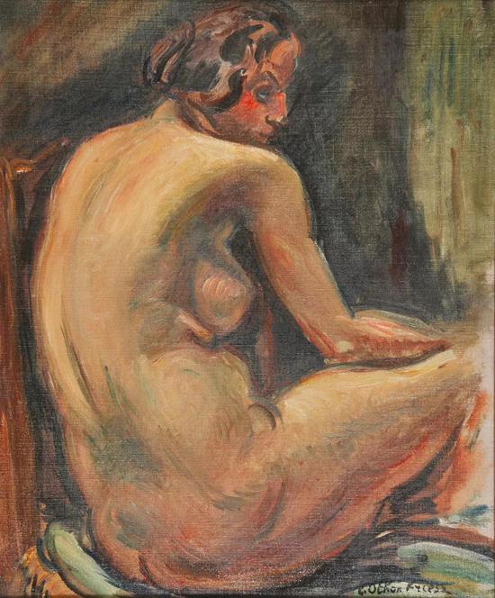 埃米尔。奥东。弗里茨 背转身的女体布面油彩 46x38cm 1925年