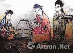 河南登封高村宋朝墓葬出土壁画厨娘煎饼图