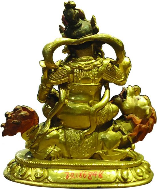 铜鎏金财宝天王像背面图
