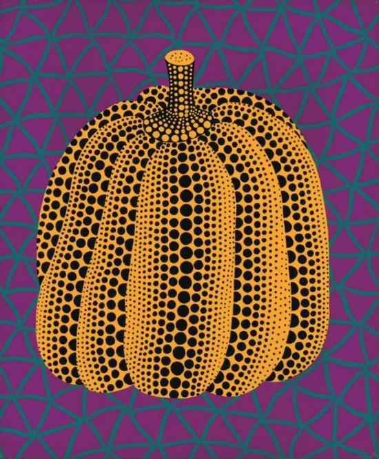 草间弥生 (日本,1929年生)《午夜南瓜》压克力 画布45.5 x 38 cm。1989年作估价:港元 3,000,000 - 5,000,000
