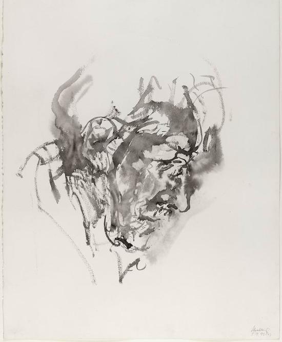 《绘画中的父亲2 》1993年9月5日(Father painting)素描 纸上石墨画 61x48cm
