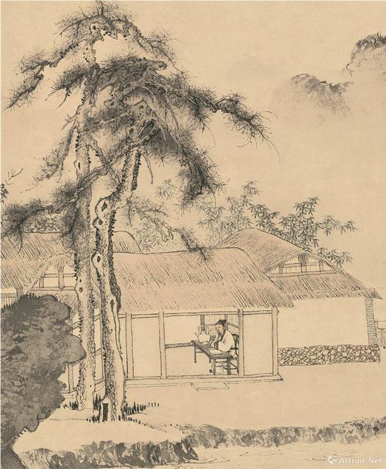 (明)唐寅 事茗图(局部) 纸本设色纵31厘米 横105.9厘米 北京故宫博物院藏