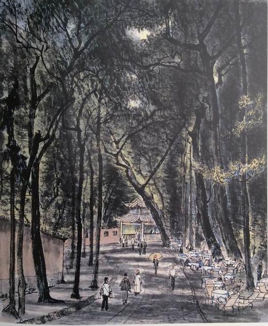 李可染,《灵隐茶座》,45x41cm,1956年