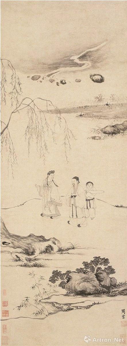 (明) 周官 携琴访友图 纸本墨笔纵112.5厘米 横49.5厘米 南京博物院藏