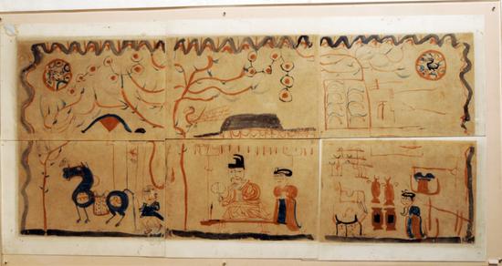 吐鲁番市阿斯塔那13号墓出土的东晋时期《墓主人生活图》纸画。 (新疆博物馆收藏)