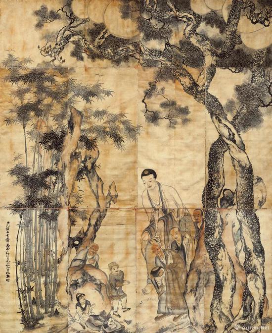 清代 竹禅《捧沙献佛图》 设色纸本 582×480厘米 宝光寺藏