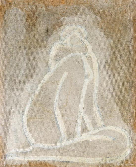 作品背面绘有另一裸女画,《盘踞裸女》之草图