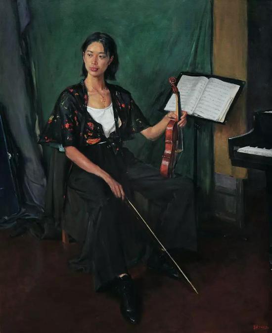 李前 小提琴手 油画