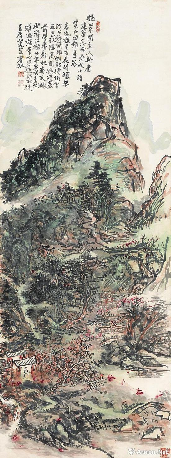 黄宾虹 《挹翠阁落成志庆图》 127×47.5cm1952年作