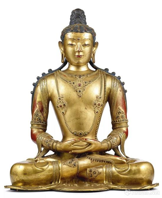 NO.3清康熙 藏汉鎏金铜无量寿佛坐像