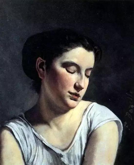 巴齐耶《眼睛低垂的年轻女子》,1869年