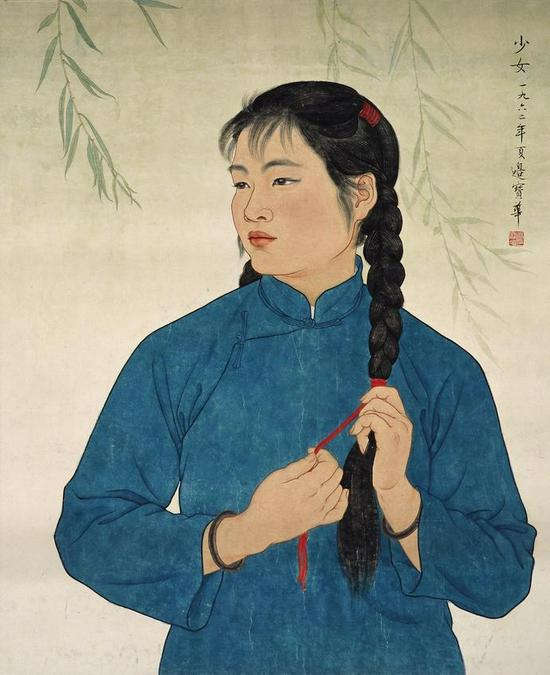 边宝华《少女》 65×53cm 纸本设色 1962年 中央美术学院美术馆藏