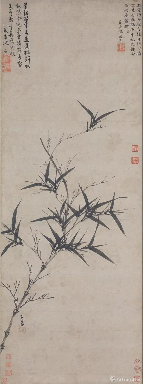 赵孟頫,《墨竹图》轴,元,纸本水墨,97.9×36.7厘米,日本大阪市立美术馆藏