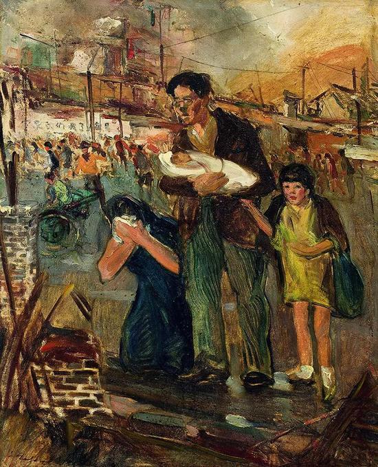 常书鸿 重庆大轰炸布面油彩 79x63.8cm 1938-1942年