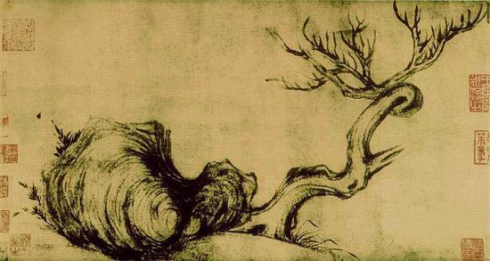 佳士得证实征集到苏东坡画作《枯木怪石图》