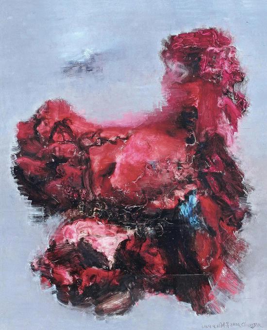 周春芽《红色山石》布面油画