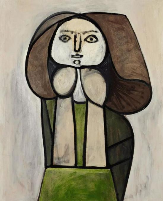 巴布罗·毕加索《绿裙女子(花女)》1946年作   油彩画板   101 x 81.5 公分