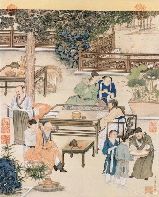 (清)姚文瀚 仿宋人勘书图 纸本设色纵50.2厘米 横42.8厘米 北京故宫博物院藏