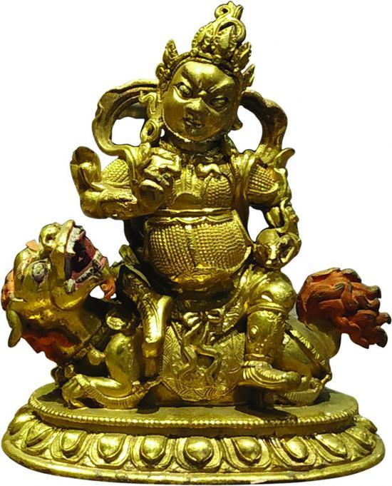 铜鎏金财宝天王像正面图