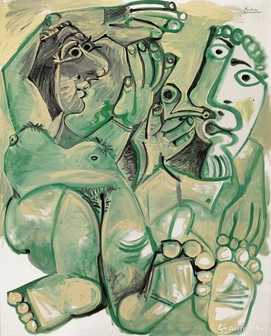 巴布罗·毕加索(1881-1973)《男子与裸女》 1968年作